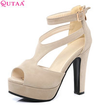 QUTAA 2017 Women Pumps Summer Black Ladies Shoe Square High Heel Peep Toe PU Leather Zipper Woman Wedding Shoes Size 34-43(China)