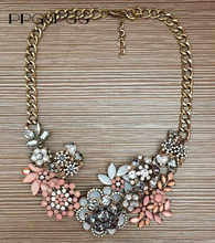 PPG&PGG New Fashion Jewelry Z Brand Vintage Rhinestone Flower Statement Necklace Crystal Choker Clothes Accessories(China)