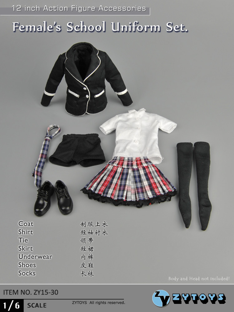 ZY15-30 1/6 Scale Black School Uniform Set Female Students Suit Clothes  For 12 Action Figure Toys Accessories<br>