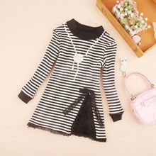 2017 Baby Teenage School Girls Blouse Fall Winter Warm Long Sleeve Cotton Striped Lace Girl Tops and Blouses Kids Shirts JW2603(China)