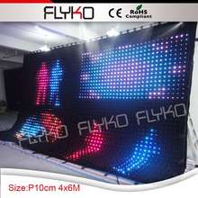 fashion tops led music color change light led curtain P10 wall cloth for club party decorations