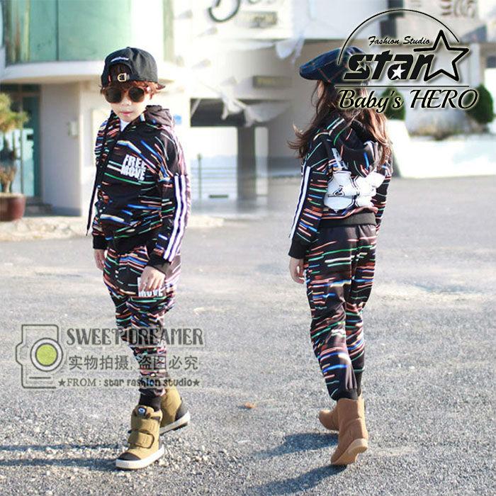 Cool Fashion Teenagers Boys Girls Clothing Sets Number Printed Sport Suit Zipper Hooded Coats + Pants 2Pcs Kids Boy Hip-pop Sets<br>