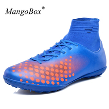 Hot Sell Football Boots For Men Children Leather Football Boots High Ankle Black Orange Soccer Cleats Shoes Breathable Trainers