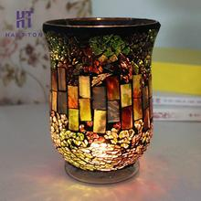 European Candle Holder Forest Green Red Mosaic Glass Candlestick Cup Candleholder Romantic Wedding Propose Home Decoration(China)
