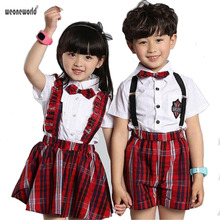 WEONEWORLD Children School Uniforms for Girls and Boys Summer Kids Grid Set Bow Tie Polo Shirt + Shorts or Pleat Dress Suits(China)
