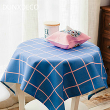 DUNXDECO Tablecloth Table Cover Fabric Fresh Pink Blue Geometric Check Dot Print Home Christmas Wedding Party Desk Decoration(China)
