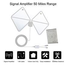Amplified Indoor HDTV Antenna 50 Miles Range Digital TV Antenna Signal Amplifier Booster 13ft Long Range Cable For Android Box(China)
