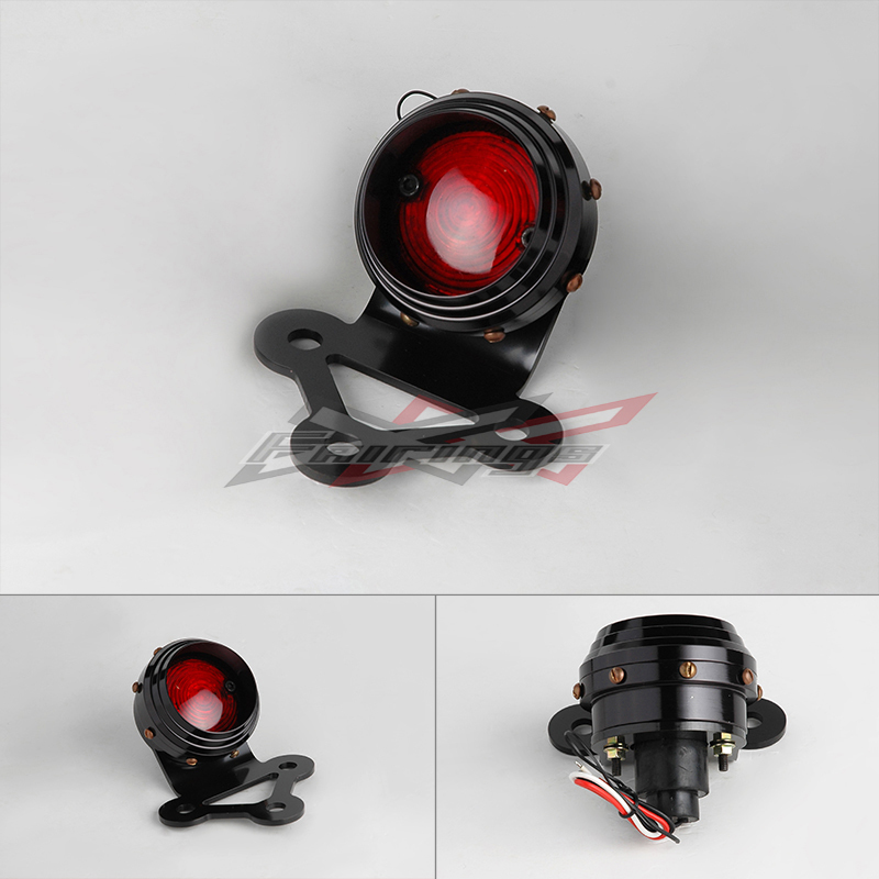 Motocycle-styling INVADER EARED VINTAGE LED TAIL LIGHT BLACK GRILL FIT FOR HARLEY TRIUMPH BOBBER CHOPPER<br><br>Aliexpress