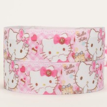 NEW arrivals 50 yards cute hello kitty pattern printed grosgrain ribbon free shipping