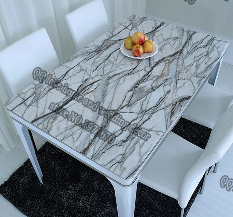 1mm ThicknessPVC Crystal Plate Soft Glass Tablecloth Waterproof Marble  Opaque Plastic Table Mat Printing Table Mat