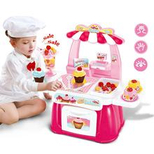 Kids Pretend Toys Cake Shop Mini Fast Food Shop Role Simulation Pretend Play Set Cash Food Kitchen Plastic Toy