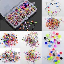 Velishy 90Pcs Body Jewelry Eyebrow Navel Belly Lip Tongue Nose Piercing Bar Ring Body Piercing Jewelry(China)