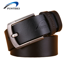 Buy FUNTEKS High cow genuine Leather Belt Men Luxury Brand Fashion Designer Mens Belts Pin Buckle Male Strap Ceinture Homme for $9.79 in AliExpress store