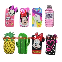 Minnie Mouse Lips Unicorn Cactus Cupcakes Ice Cream Jukebox Pineapples 3D Silicone Case Cover For iPhone 7 4 4S 5 5S 6 6S Plus