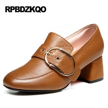 High Heels Runway Quality Belts Slip On Brown Medium Chunky Black Luxury Brand Shoes Women Square Toe Pumps Genuine Leather(China)