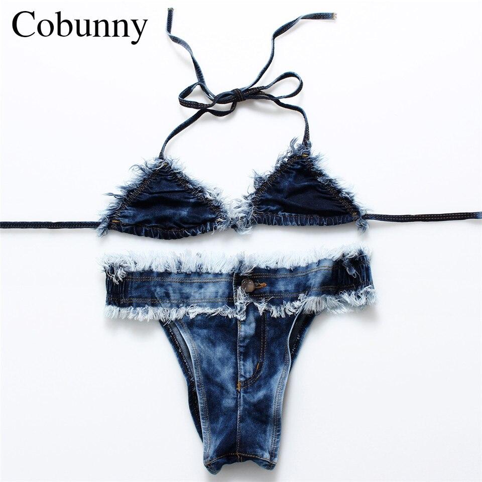 COBUNNY 2017 Newest Jean Style Fringes Bikini Sexy Unedged Swimsuit Thong Swimwear Bathing Suit Women Biquinis  803<br><br>Aliexpress