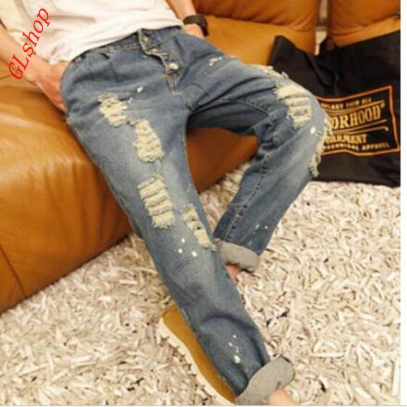 2017 New Fashion Hot Sale Fashion Mens Hole Ripped Casual Long Jeans Slim Fit Straight Pant Trousers Size 28-34 Free ShippingОдежда и ак�е��уары<br><br><br>Aliexpress