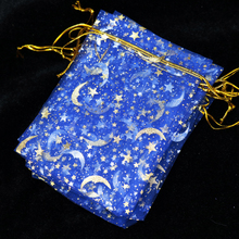 Royal Blue Organza Jewelry Bag 7x9cm Favor Moon Star Wedding Jewelry Packaging Pouches Small Organza Gift Bags 100pcs/lot(China)
