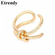 Handmade Knot Design Adjustable Rings For Women Bijoux Metalic Gold-color Open Ring Fashion Jewelry Cute Gift(China)
