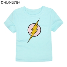 CHUNJIAN boys flash men logo t shirts kids cotton summer girls short sleeve t-shirts for 2-14T boys clothes roupas infantis me