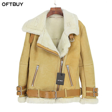 OFTBUY 2017 new winter jacket women Double-faced Fur coat parka sheepskin Genuine Leather warm thick real wool fur liner brand