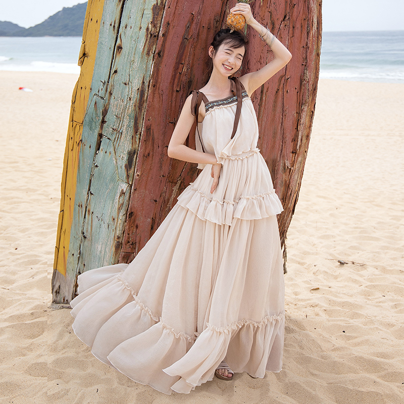 Free Shipping Boshow 2019 New Bohemian Women Long Maxi Sleeveless Summer S-L Ruffles Chiffon Big Hem Embroidery Bandage Dresses