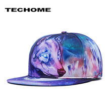Brand Fashion Hip-Hop Hat Waves Wolf 3D Heat Transfer Process Topped Baseball Cap Flat Hats for Men&Women