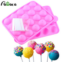 Kitchen DIY Round Chocolate Candy Ice Lollipop Molds 20 Silicone Ball Shaped Cupcake Baking Modelling Tray With 20Pcs Sticks