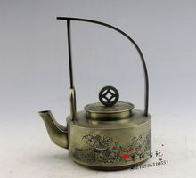 Antique bronze pure white bronze sculpture hand carved carved ancient antique hand - held teapots copper pot Decoration