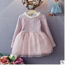 2017 spring and autumn baby dress girl dress princess dress doll collar childrens gauze Christmas dress for girls 2-7 years old(China)