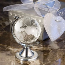 10pcs World Globe Crystal Glass Clear Paperweight Desk Decor Wedding Favor(China)