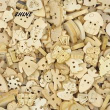 SHINE Wooden Sewing Buttons Scrapbooking Animal Mixed Natural Color Two Holes 50 PCs Costura Botones Decorate bottoni W10026(China)