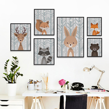 Cute Animal Cartoon A4 Canvas Painting Art Print Poster Picture Wall Paintings Children Baby Bedroom Wall Decoration Home Dceor