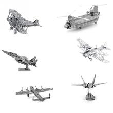 3D Metal Model Puzzle Building Kits Laser Cutting Solid Jigsaw Scale 3D Puzzle Metal Aircraft Simulation Model Educational Toys