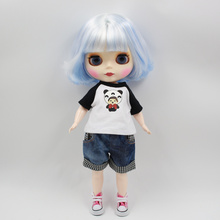 ICY Blyth doll with Series No.130BL1366005 Blue mix white hair Matte face Cute Plump Lady BJD