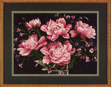 Cross Stitch Kits T024 plant flowers hand-embroidered pink peonies and flowers Black embroidered cloth paintings on needlework(China)