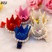 JINSE Baby Party Pearls Headbands Tiaras Hairpins Children Hair Accessories Girls Multi-Color Pearl Crown Hair Clip Baby CR045