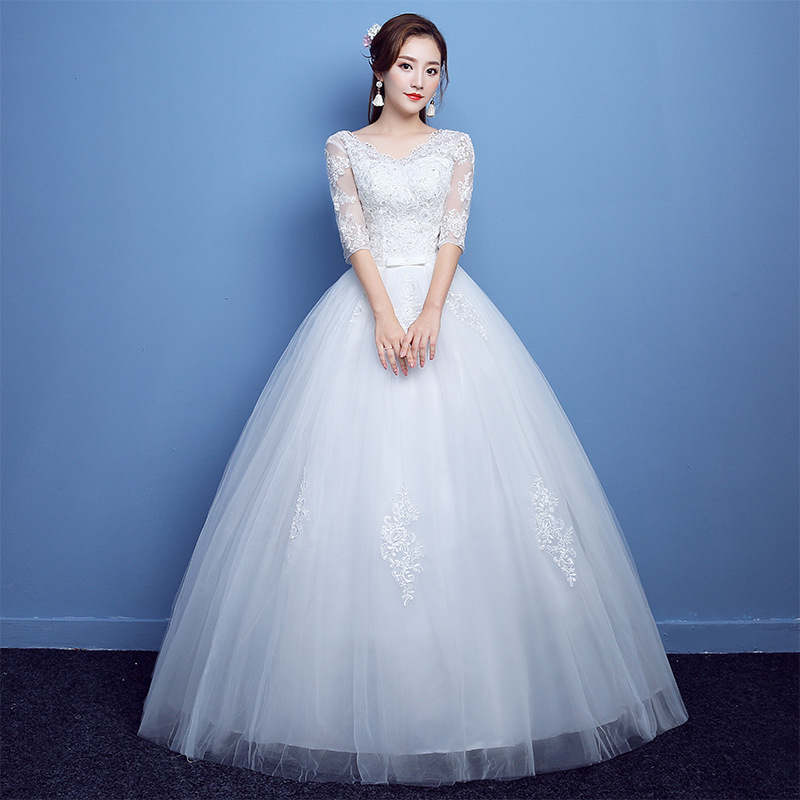 Hot Korea Wedding Dresses 2019 Elegant Ball Gown Bridal Gowns In Stock V Neck Lace Tulle Robe De Mariage Lace Up Bride Dress