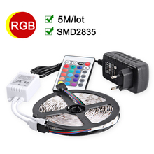 RGB LED Strip 5M 60Leds/m Flexible LED light 2835 SMD DC12V 2A Power Adapter IR Remote Controller Holiday Decor RGB Lamps(China)