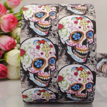 "free shipping 50 yard 1-1/2"" 38mm cool Skull pattern printed  grosgrain ribbon tape DIY hair bow with better price"