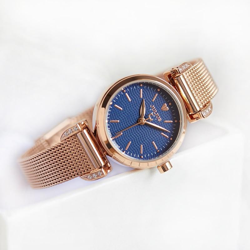 New Womens Watch Japan Quartz Hour Clock Fine Fashion Dress Stainless Steel Chain Bracelet Simple Girl Birthday Gift Julius Box<br>