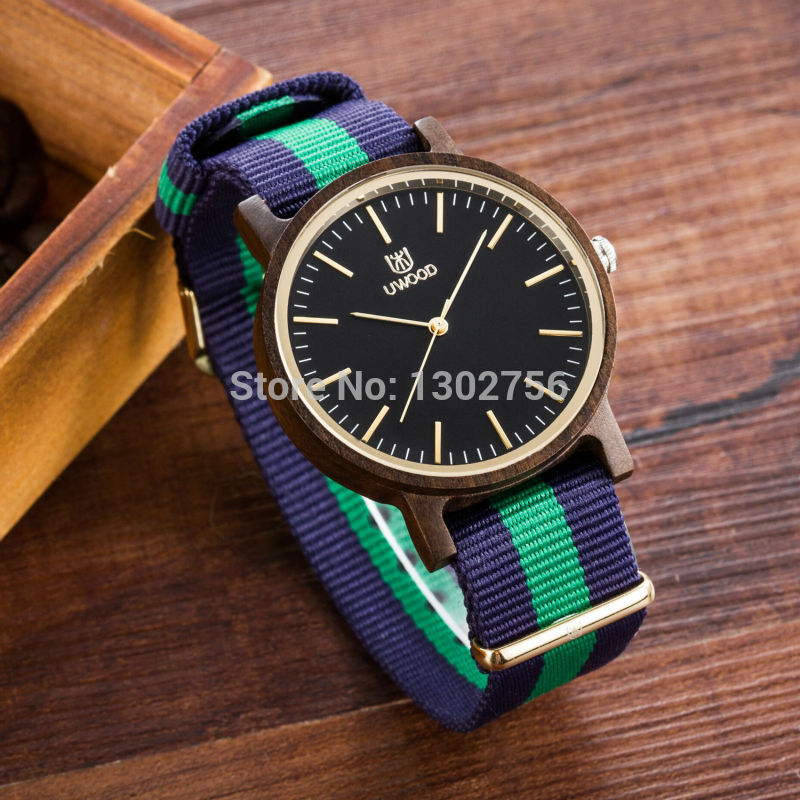 Uwood Mixed Colour New Luxury Brand Nylon Band Dress Wooden Watch Simple Style Quartz Business Wood Wristwatch Good Gift<br>