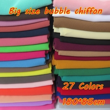 180*85cm Big Size High Quality Bubble Chiffon Women Muslim Hijab Scarf Shawl Wrap Solid Plain Colors 10pcs/lot(China)