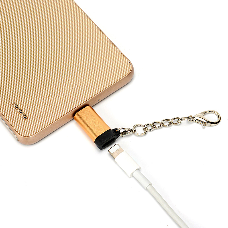Micro USB Adapter Cable Micro USB male to For iPhone female Converter USB OTG Data Adapter with Key Chain