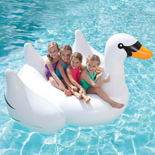 60 Inch 1.5M Giant Swan Inflatable Ride-On Pool Toy Float Inflatable Swan Pool Swim Ring Holiday Water Fun Toys Air Mattress(China)