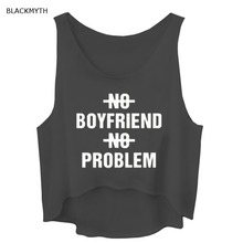 BLACKMYTH Women's New Arrival  NO BOYFRIEND NO PROBLEM Printed Sleeveless Short Tanks Top Crop Tops Summer Shirt Black White
