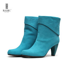 BASIC EDITIONS  Autumn Winter Women Ankle Boots Fashion High Heels Winter Boots Female Warm Pumps Blue Boots a13-521