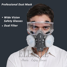 Half Face Respirator Dust Mask With Safety Glasses For Builder Carpenter Daily Haze Protection Work Safety Mask 5 Layer Fliter(Hong Kong)