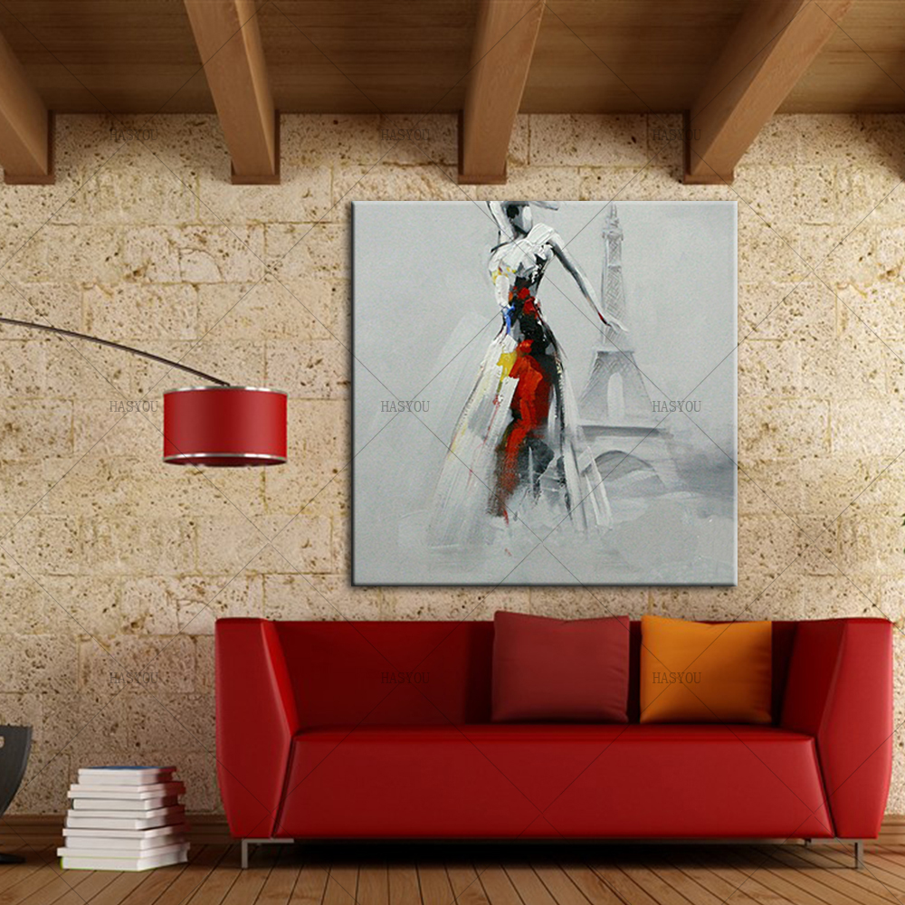 Pop-Art-Sexy-Lady-Dancing-in-Front-of-Eiffel-Tower-Oil-Painting-Modern-Knife-Painted-Painting