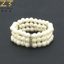 Hot New Fashion Elasticity Bracelet Simulated Pearl Multilayer Beaded Charm Wide Cuff Bracelets Bangles For Women 2017 Jewelry